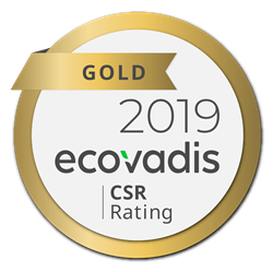 logo EcoVadis, gold CSR Rating